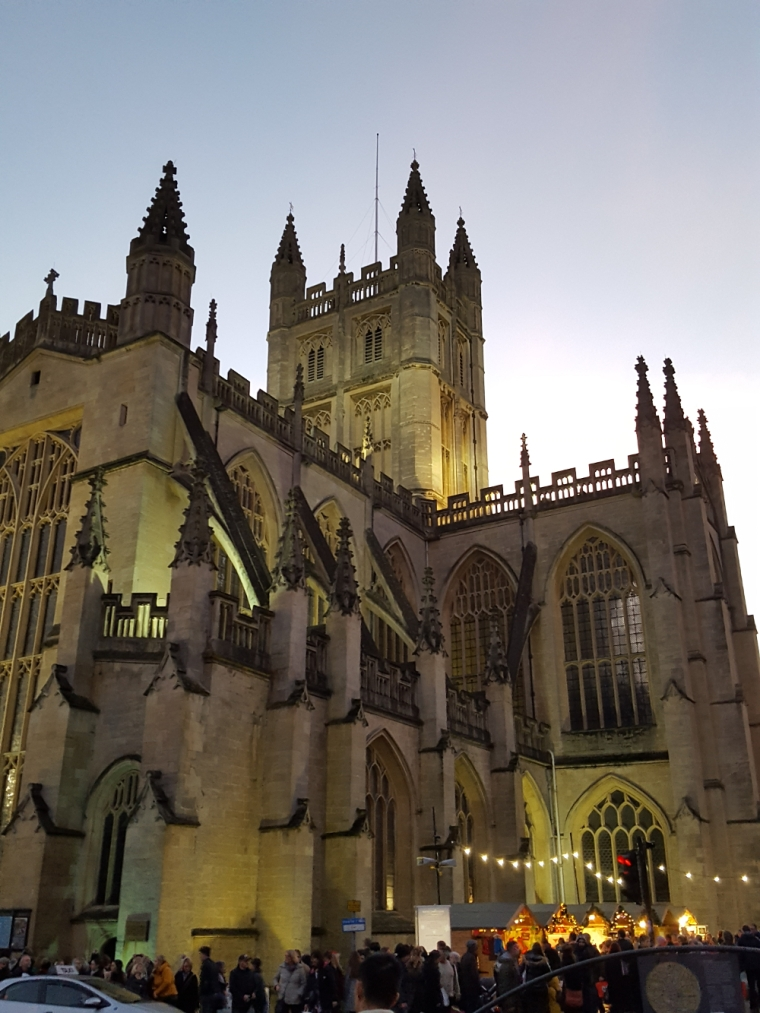 Bath Abbey UK at sunset