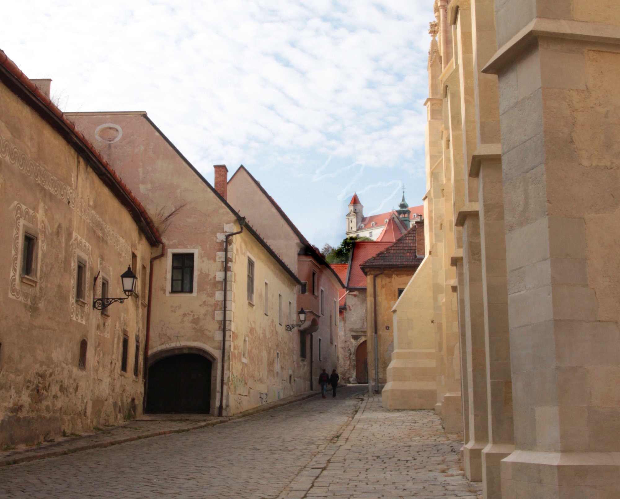 Cobbled streets in Bratislava old town