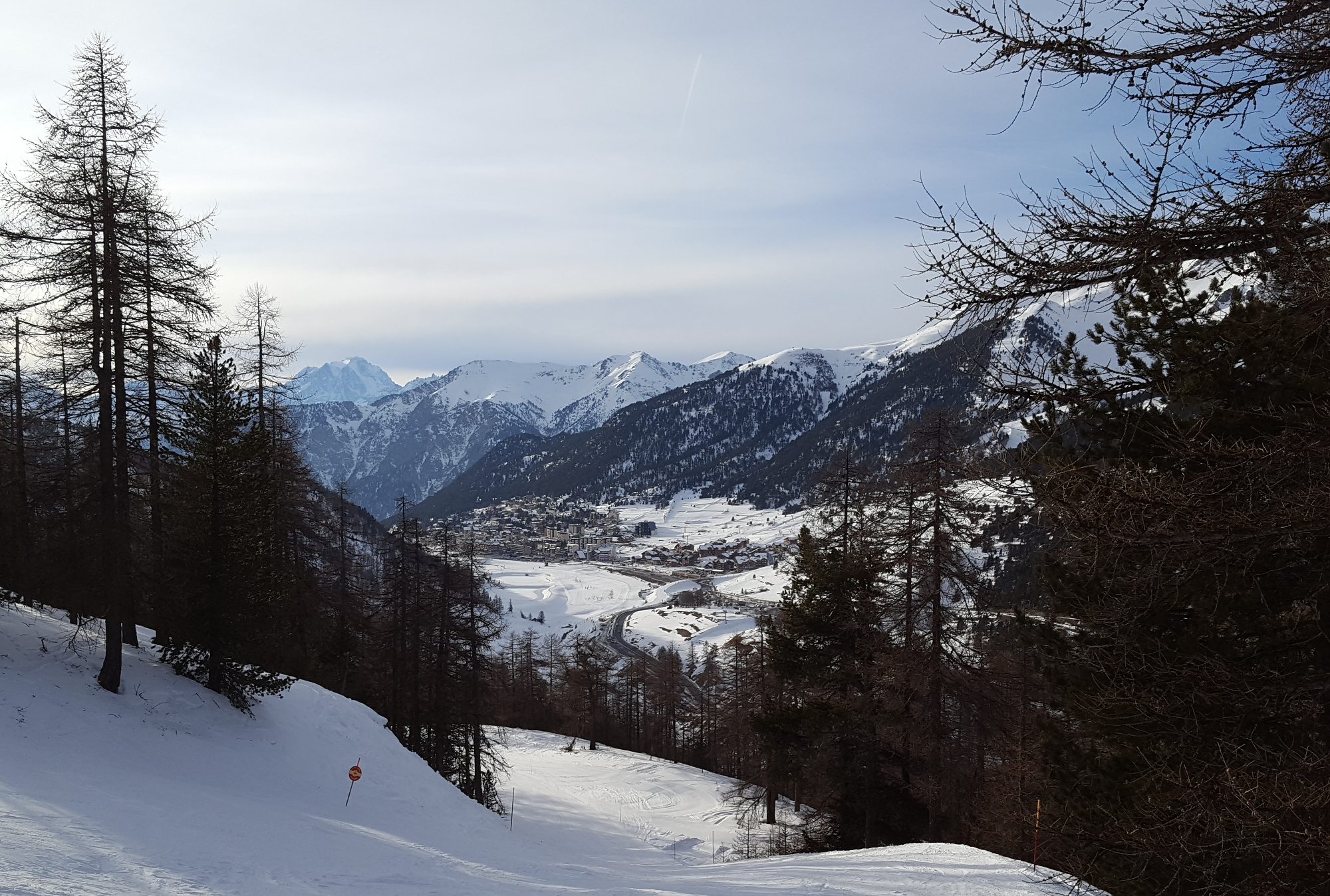 Looking down over the French resort of Montgenevre