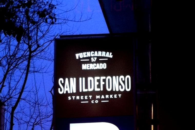 Mercado San Ildefonso street food market in Madrid, Spain