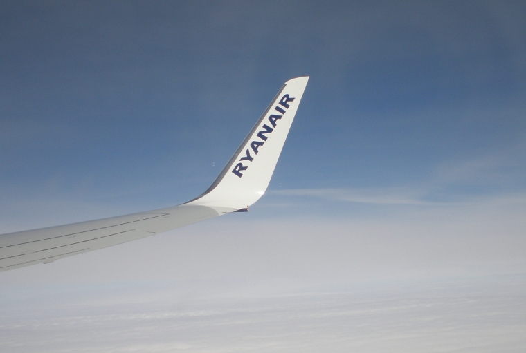 Wing of Ryanair aircraft