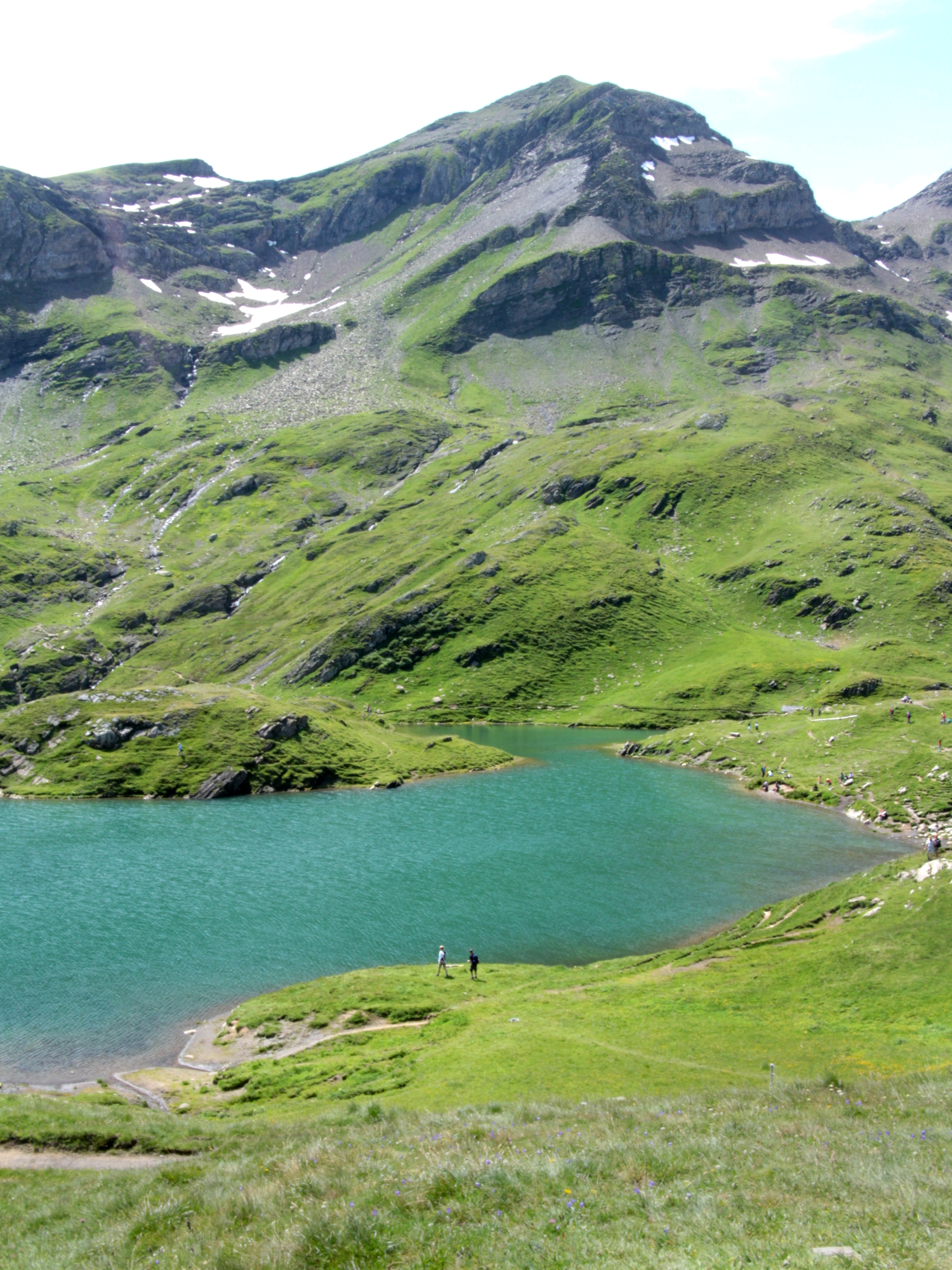 Stunning Bachalpsee, a high alpine lake above Grindelwald in the Bernese Oberland