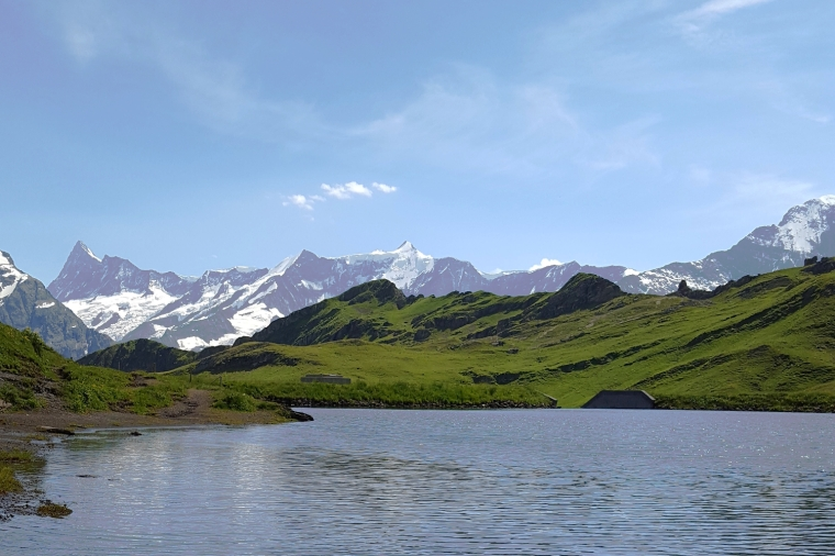 Bachalpsee, high up in the mountains of the Bernese Oberland at Grindelwald-First