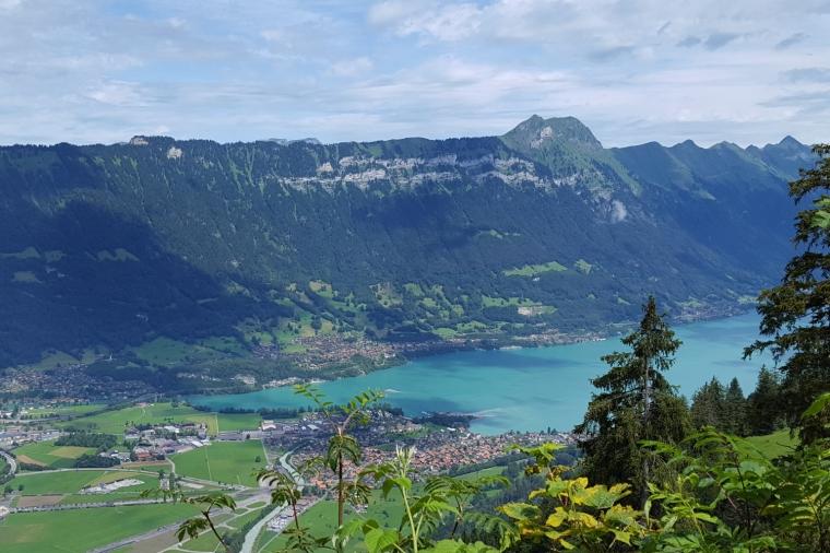 View from Breitlauenen on the climb to Schynige Platte overlooking Interlaken, Switzerland