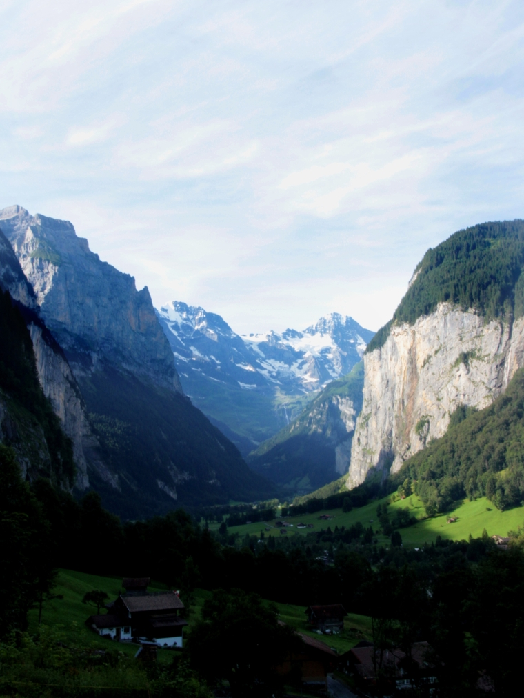 Looking down the Lauterbrunnen valley near Interlaken in Switzerland as the morning sun comes up