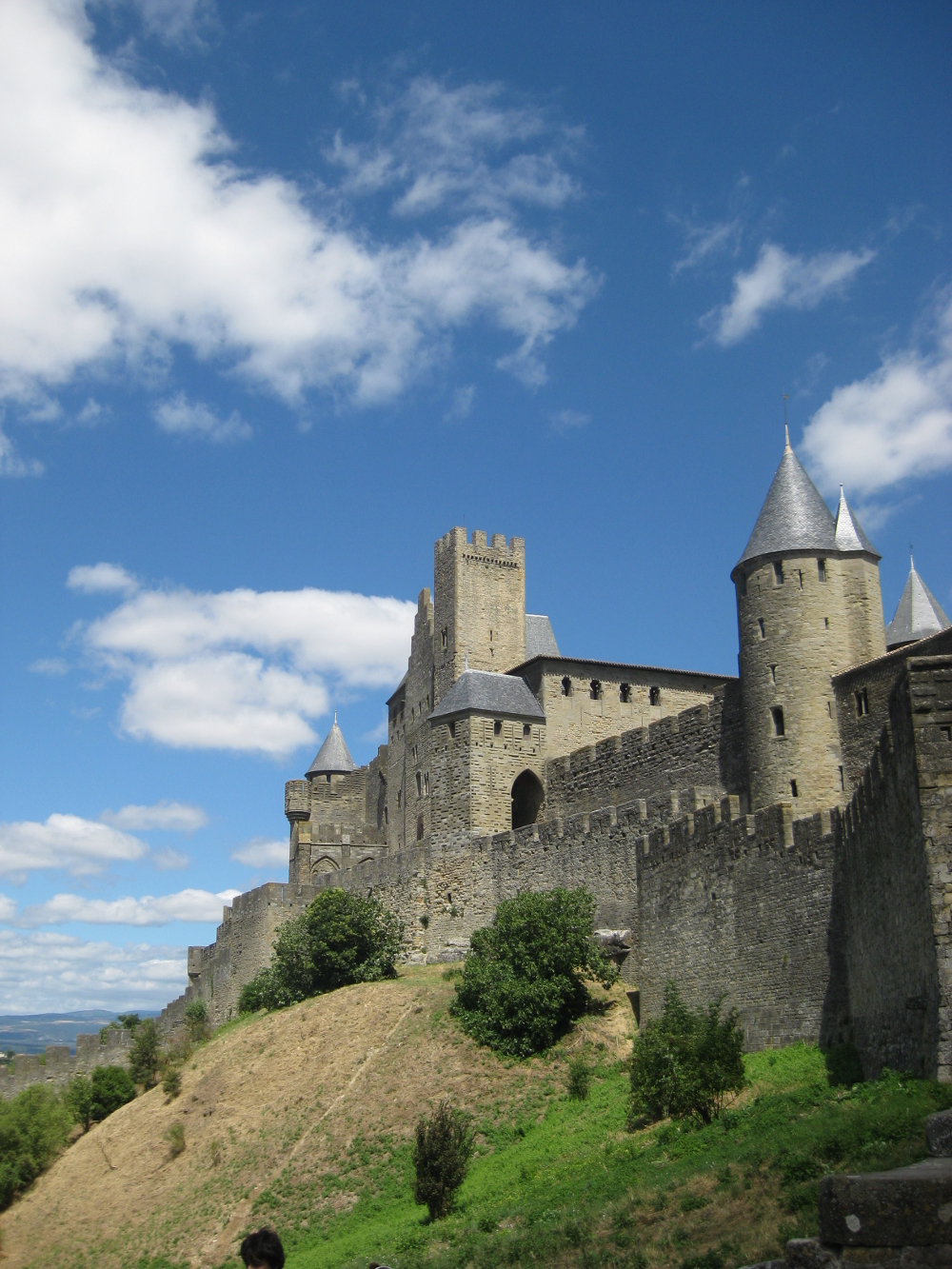 The fortified walls of the medieval city of Carcassonne, France