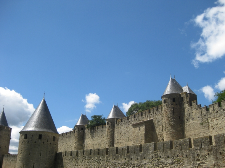 The fortified walls of Carcassonne, France