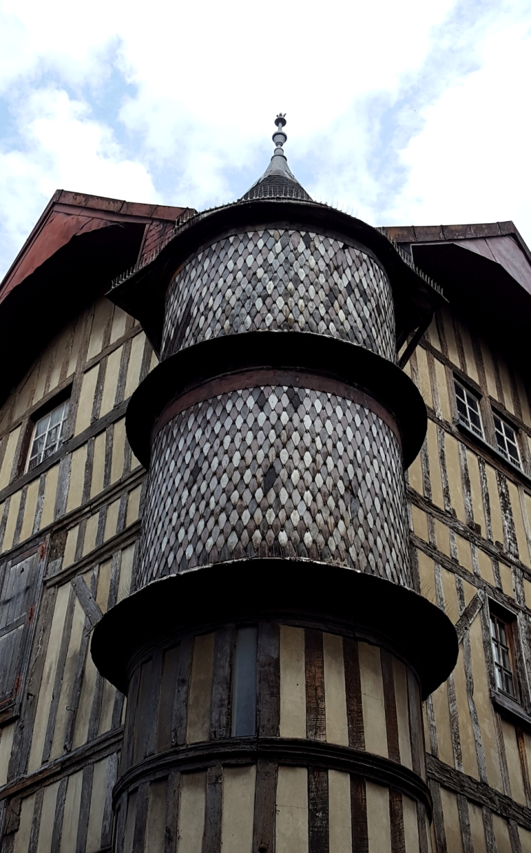 Wooden tower on medieval building in Troyes, France