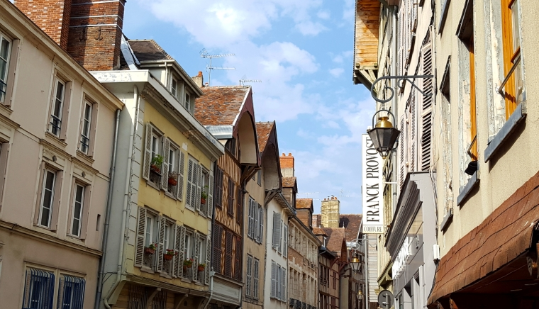 Beautiful buildings n Rue de la Monnaie in Troyes, France